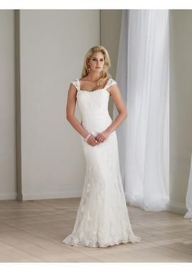 Cap Sleeves Slim A-Line dress with Allover Lace Style and Sweep Train Lucky Wedding Dress