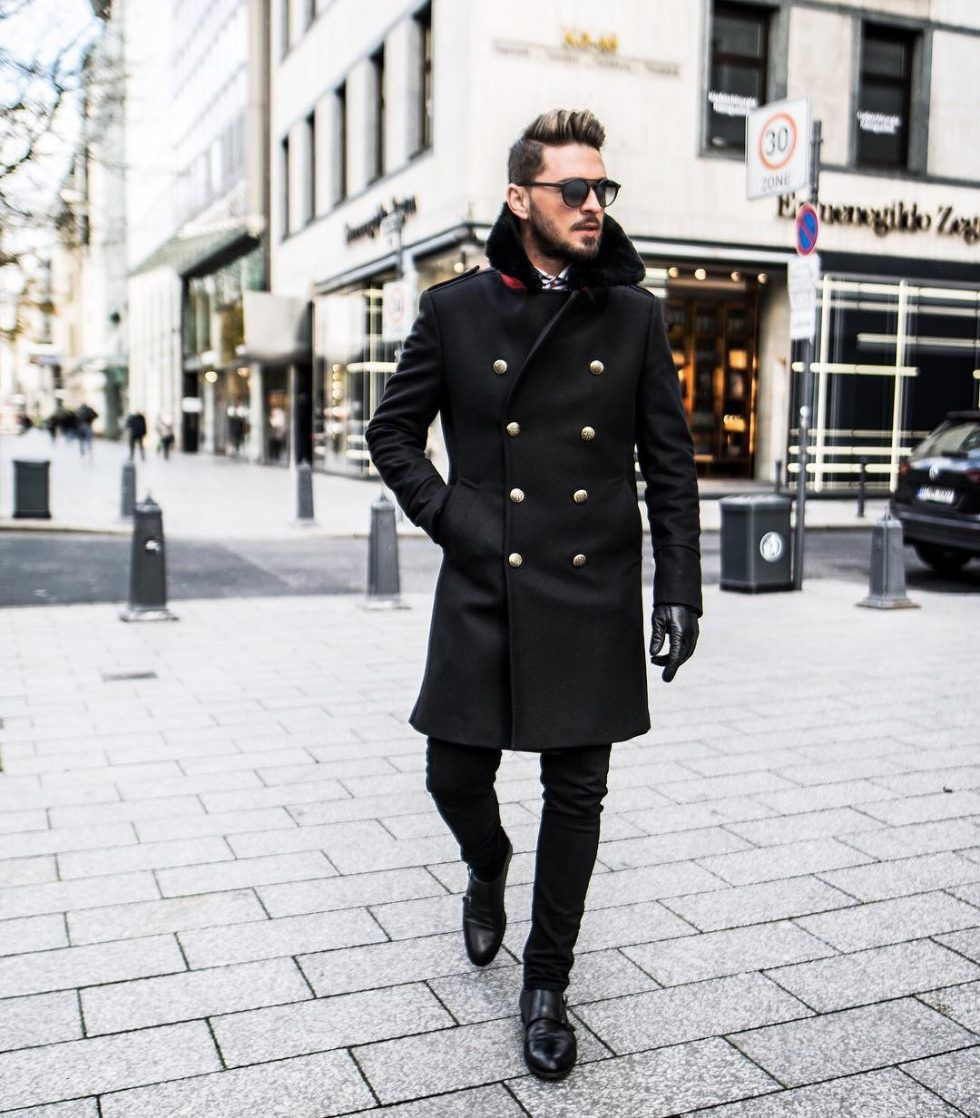 get cheap Sales promotion big discount sale Black peacoat with office suit 1 in 2019 | Dark mens fashion ...