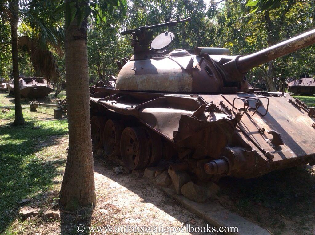 Damaged tank in the War Museum, Siem Reap, Cambodia. www.antonswanepoelbooks.com