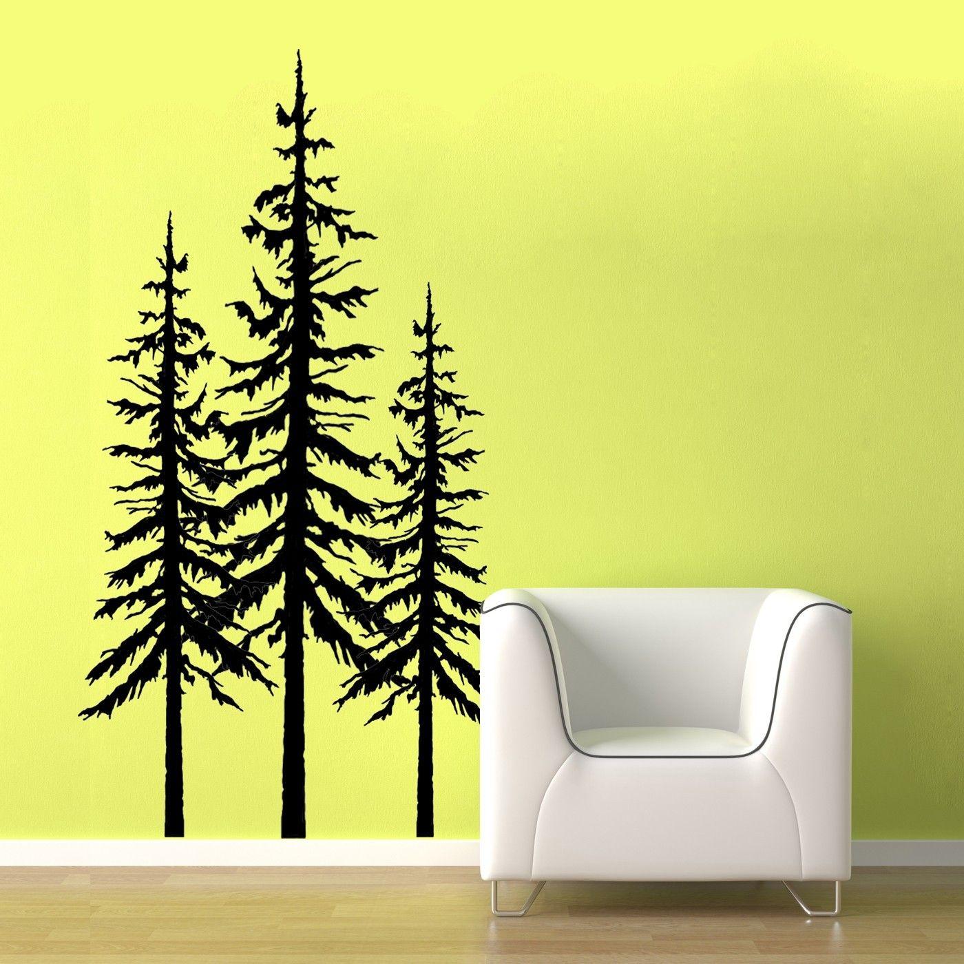 White Large Pine Tree vinyl wall graphic by OldBarnRescueCompany ...