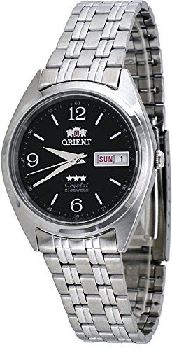 Men's Wrist Watches - Orient FAB0000EB Mens 3 Star Stainless Steel Black Dial Day Date Automatic Watch *** Want additional info? Click on the image. (This is an Amazon affiliate link)