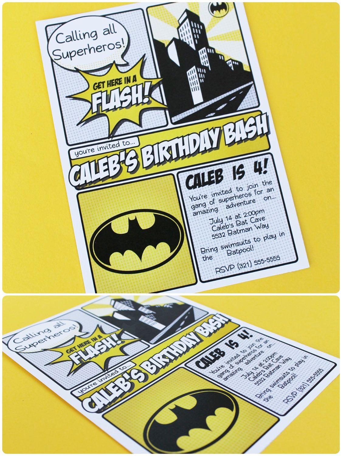 superhero collection  batman   invitation  diy printable