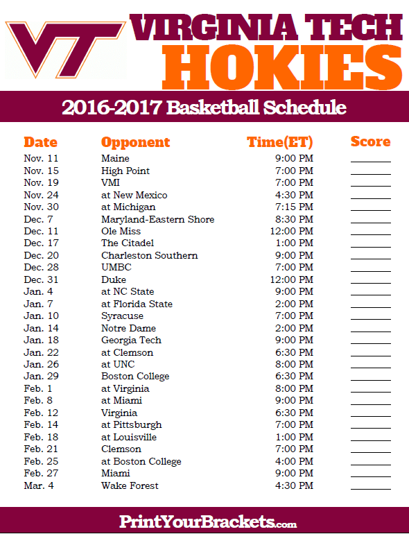 Virginia Tech Hokies 2016 2017 College Basketball Schedule Basketball Schedule College Basketball Schedule Virginia Tech Hokies