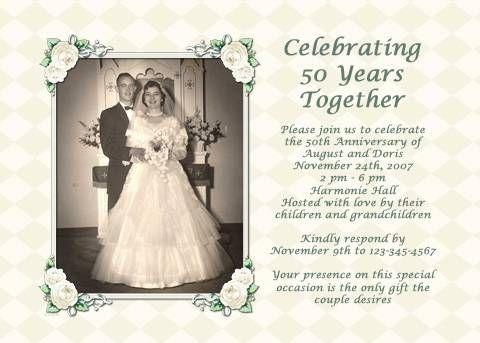 Ideas for a 50th wedding anniversary invitation 50th wedding ideas for a 50th wedding anniversary invitation solutioingenieria Gallery