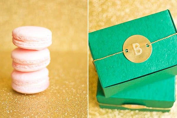 Emerald green and gold favor boxes