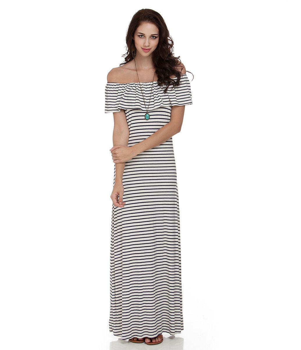 2a226d16d4 Vestido Longo Feminino Listrado com Babados - Lojas Renner