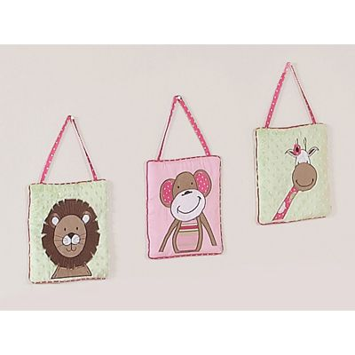 Baby's room needs wall decor too. That is why Jo Jo Designs has created the Jungle Friends Pink and Green 3 Piece Wall hangings set. These three adorable wall hangings showcase your child's favorite jungle friends: the lion, the monkey, and the zebra. The Pink, brown, and green color scheme, along with the bright pink polka dot piping, will match the Jungle Friends bedding collection. #timelesstreasure