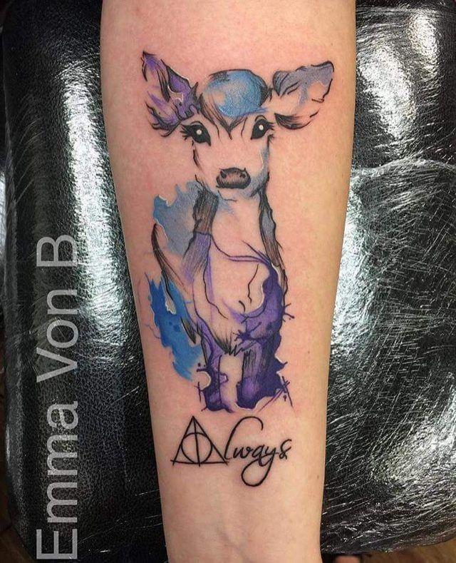 Lily S Doe Patronus Emma Von B Hello Sailor Tattoo Studio Blackpool Uk Harry Potter Tattoos Patronus Tattoo Fandom Tattoos