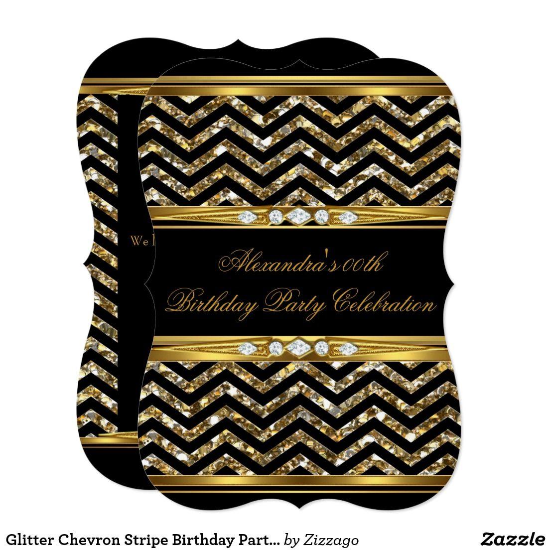 glitter chevron stripe birthday party gold black invitation in 2018