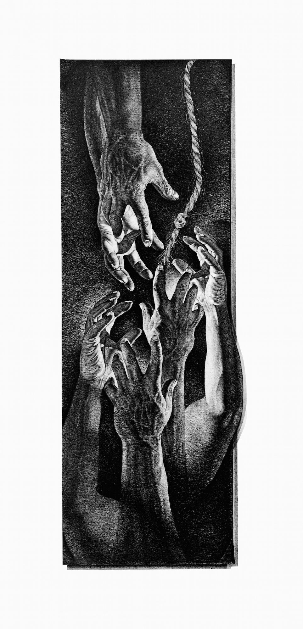 Pencil drawing print of hands reaching to help each other by world famous artist john nelson print size 13x28