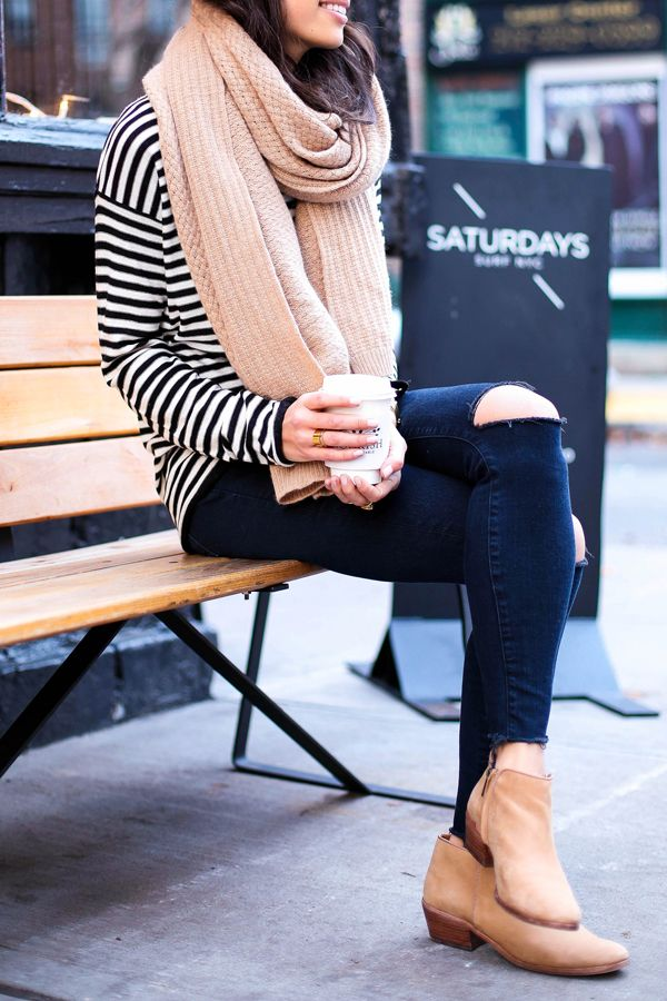 Stripe sweater with ripped jeans and booties