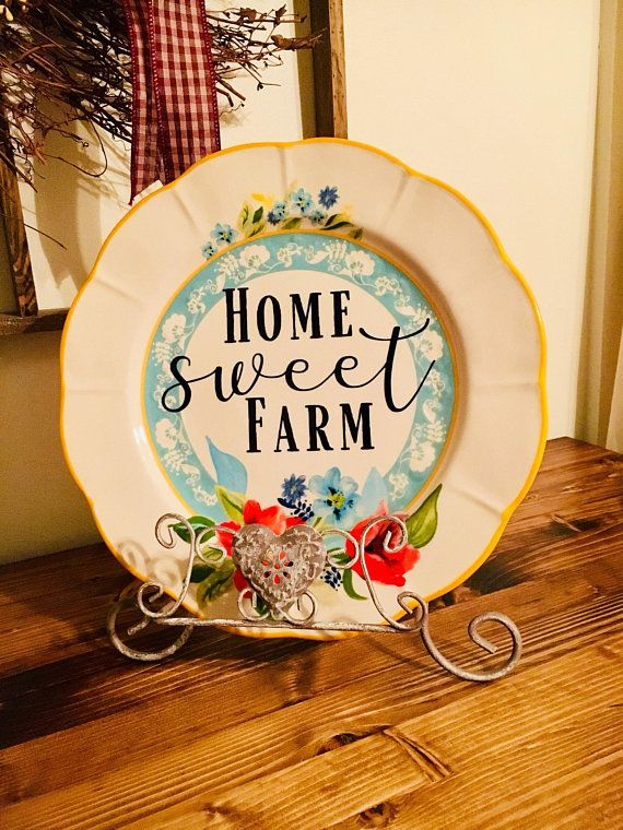 Home Sweet Farm Charger Plate Decor Home Decor Shabby Chic Decor Country Living Pioneer Woman Decor Charger Plates Decor Plate Decor Shabby Chic Room