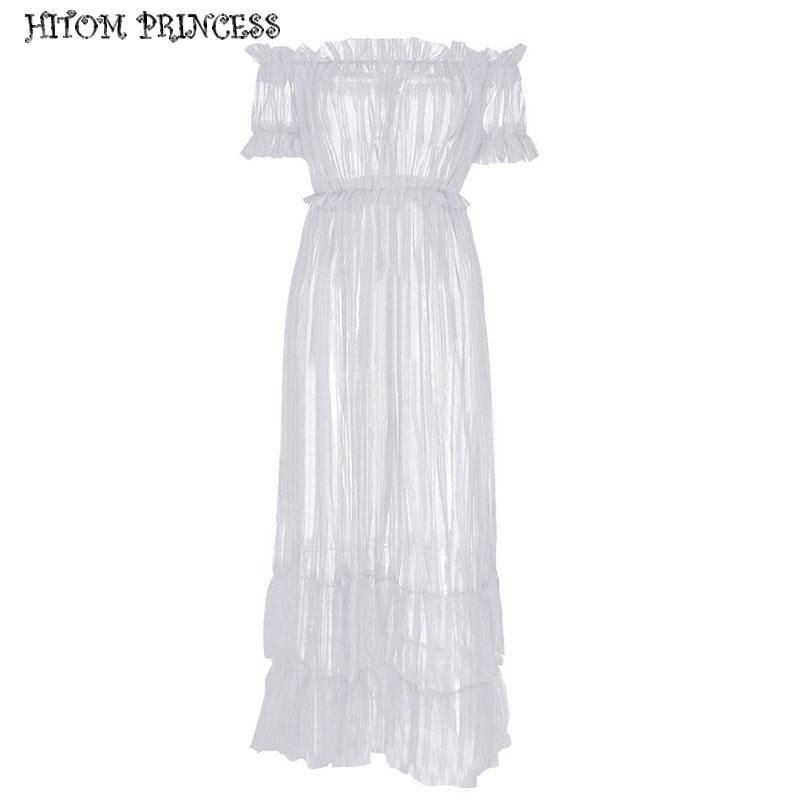 8e403b11689 HITOM PRINCESS Off Shoulder Maxi Dress Sheer Mesh Long Women Dresses ...