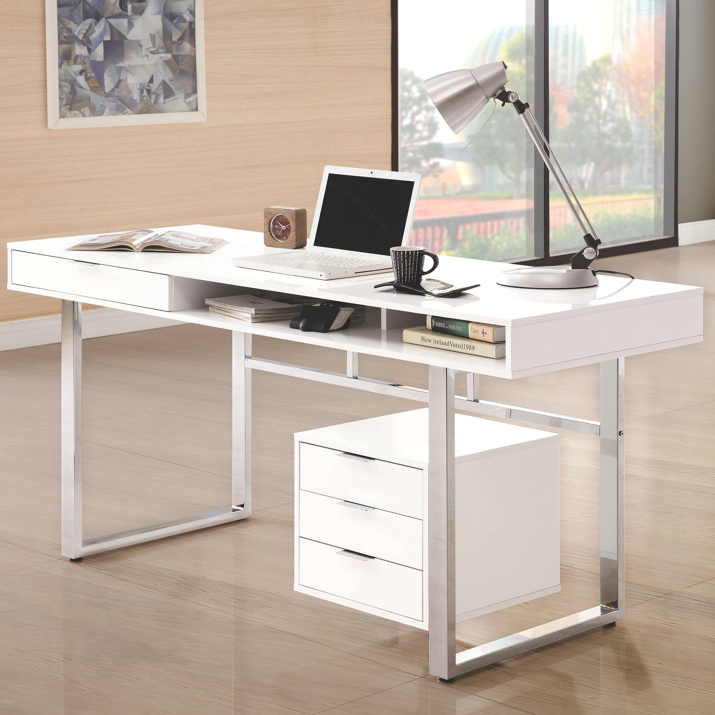Modern Design Home Office Glossy White And Chrome Computer Writing Desk White Writing Desk Contemporary Writing Desk Wooden Writing Desk