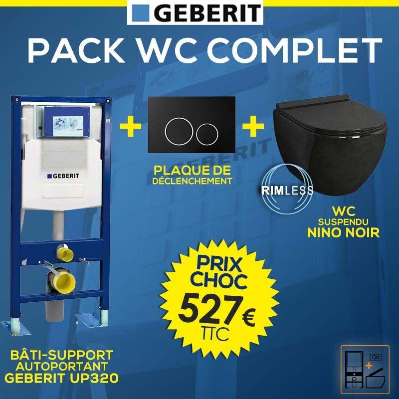 Bati Geberit Up320 Plaque De Declenchement Noire Wc Suspendu