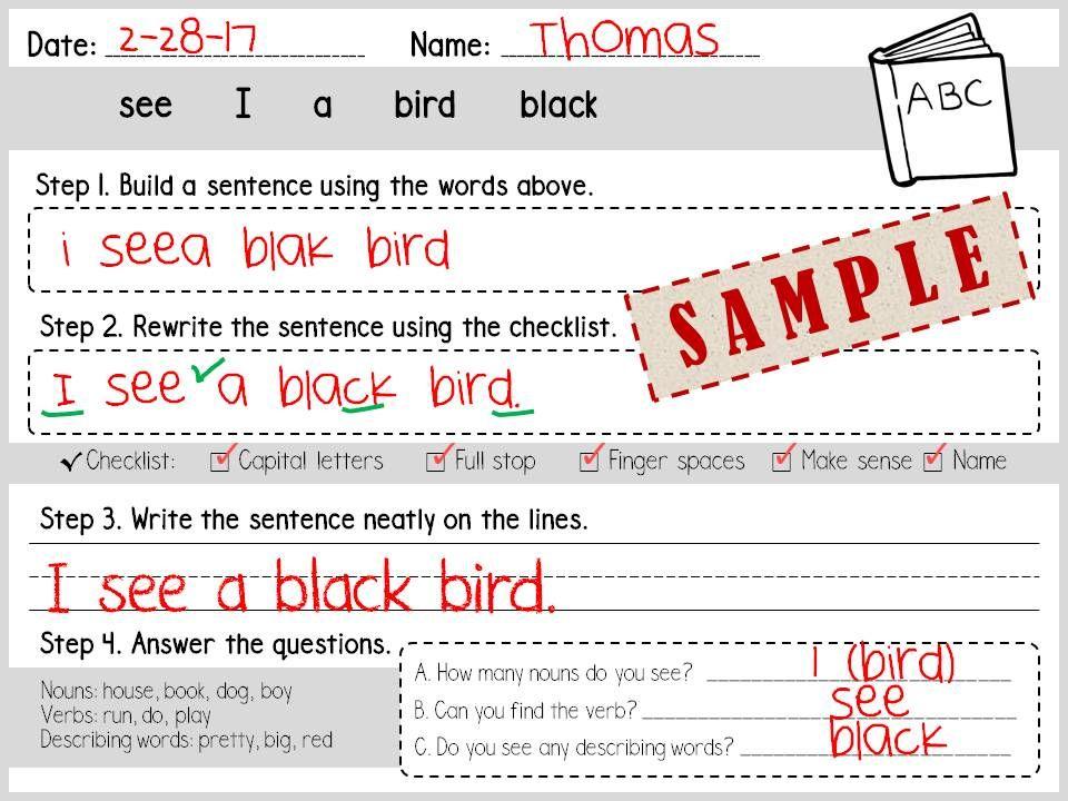 Building Sentences / Grammar / Sight words / Nouns / Adjectives ...