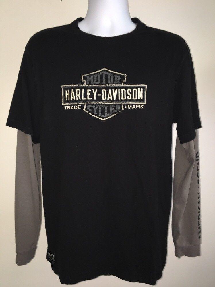 Knoxville Harley Davidson >> Harley Davidson Long Sleeve T Shirt Sz Large Black Layered