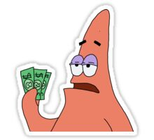 Patrick Has 3 Dollars Sticker By Katuse In 2021 Funny Stickers Print Stickers Vintage Cartoon