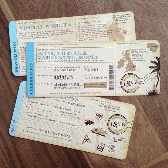 Vintage-inspired Travel Ticket Destination Wedding