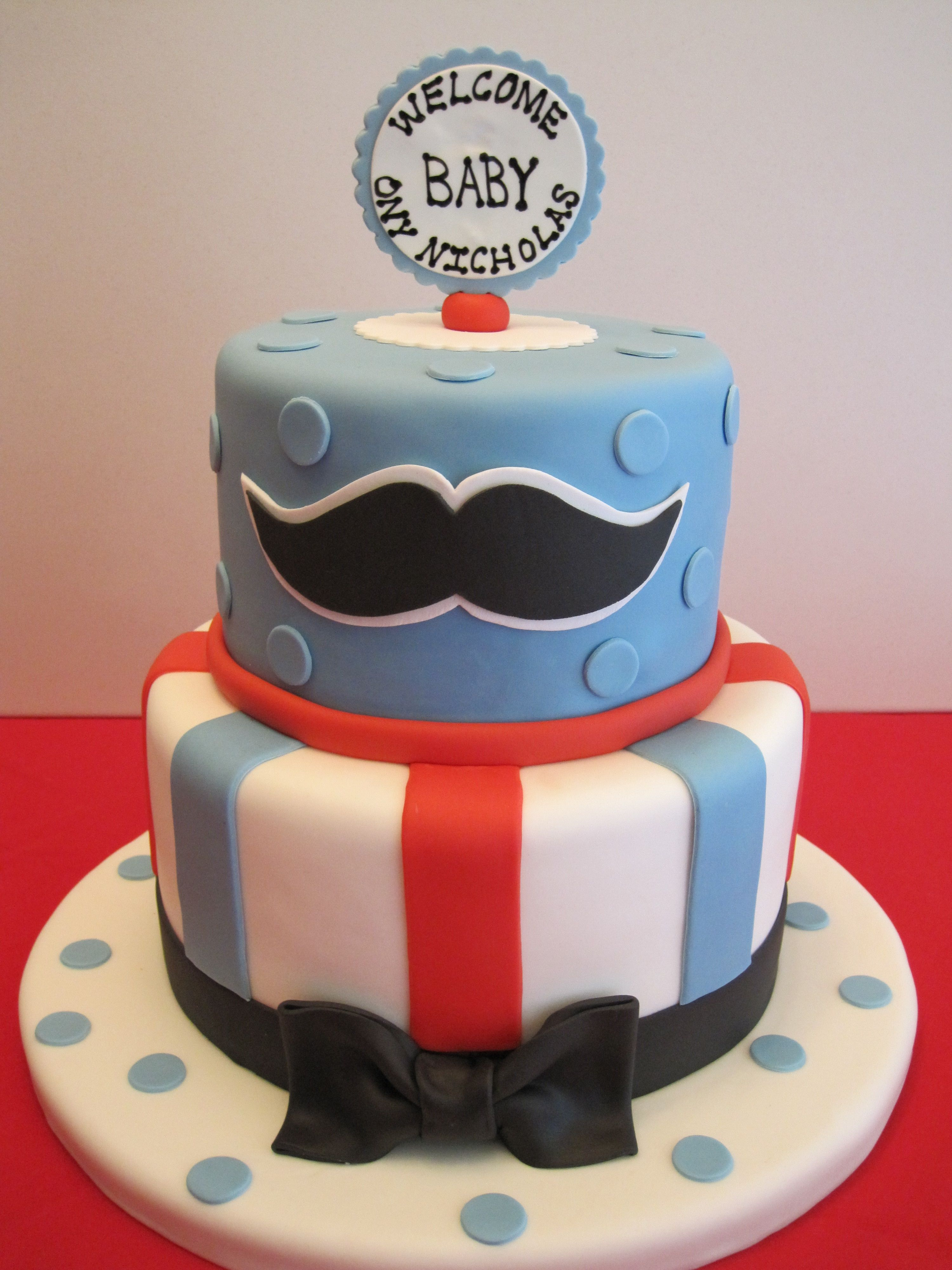 Baby Shower Mustache Cake