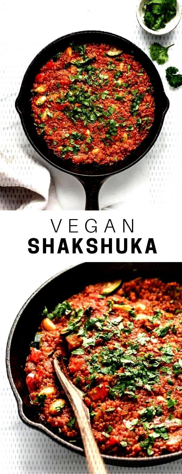 This healthy vegan shakshuka recipe is a take on Israeli classic with beans and quinoa.