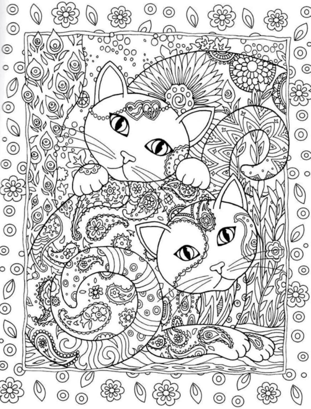 Creative Cats Coloring Book By Marjorie Sarnat Dover