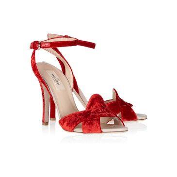 Valentino Red Velvet Ankle Sandals