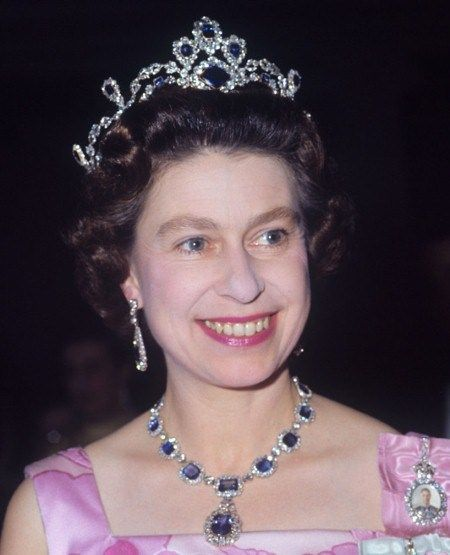 HM Queen Elizabeth had this tiara commissioned in 1963 to match a sapphire suite that was given to her as HRH Princess Elizabeth by her father HM King George VI on the occasion of her marriage to Prince Philip in 1947. This set of sapphire jewels and tiara belongs to HM Queen Elizabeth's personal jewelry collection