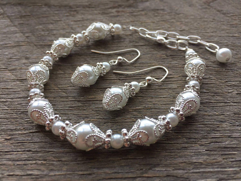 White pearl bracelet earring set filigree set bridal set on silver
