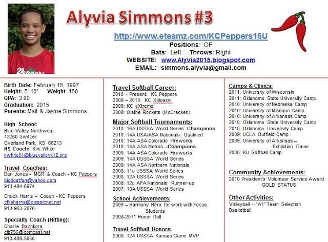 Image Result For Player Profile Softball Baseball