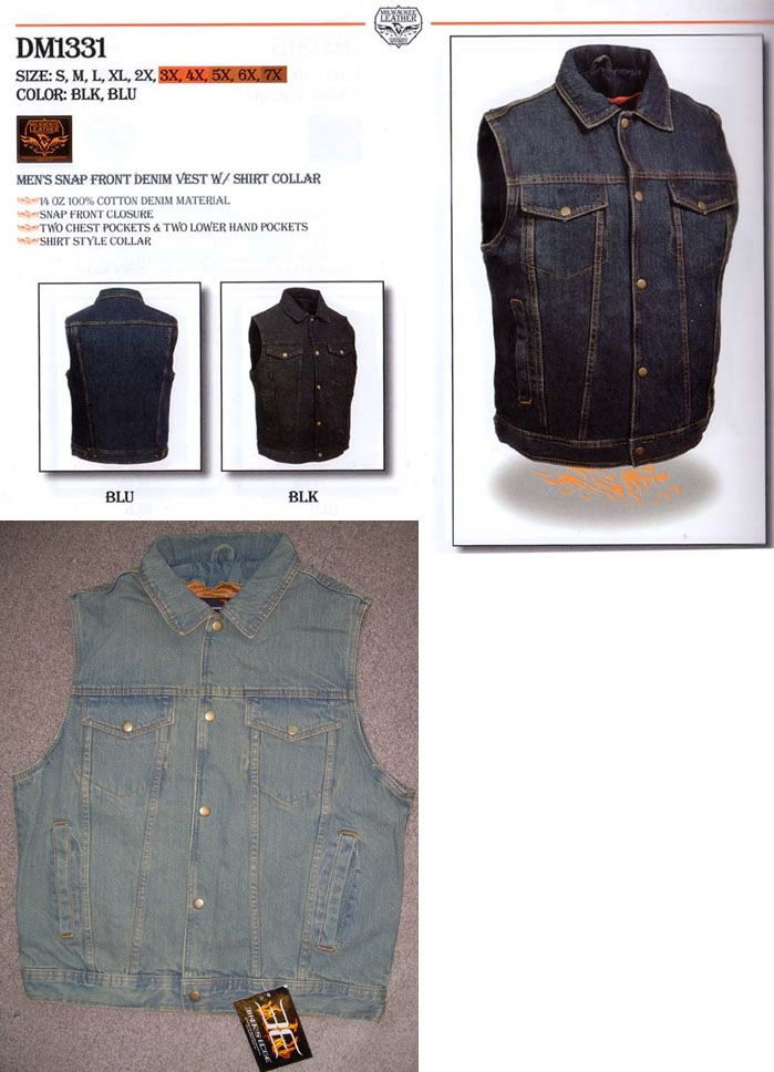 7be3d1afbe6c1b Denim Vest by Milwaukee Leather (Blue Or Black)