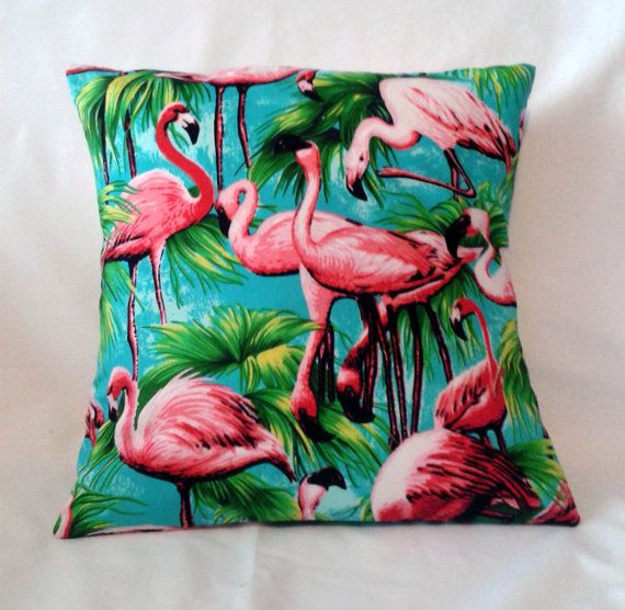 Tropical Flamingo Cushion Cover SMALL - 50's Style Print on Etsy, $13.90 AUD