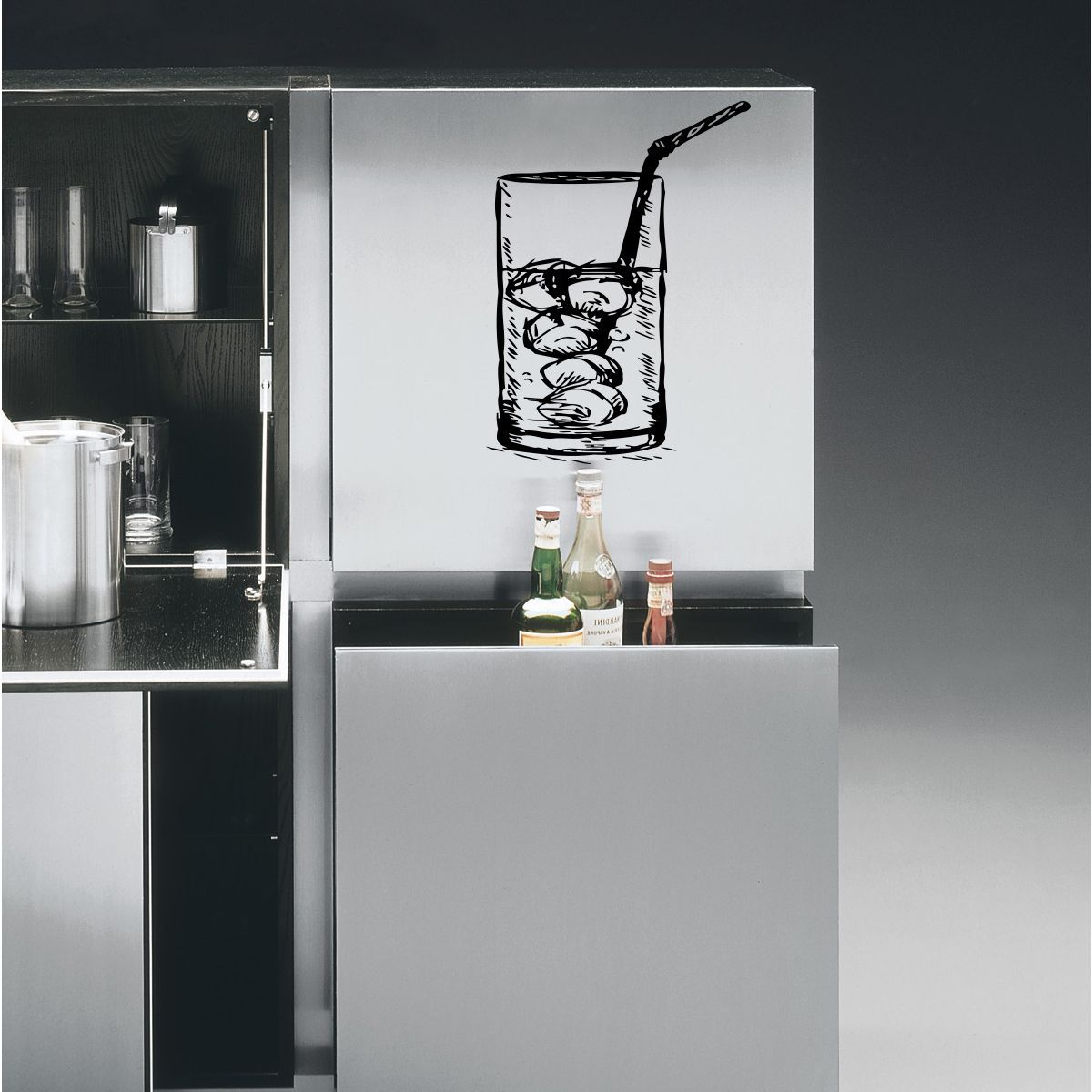 Glass of water with ice wall art sticker decal products