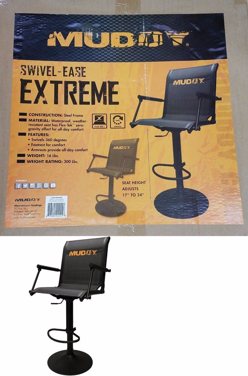 Swell Muddy Outdoors Swivel Ease Xtreme Adjustable Chair Stool Machost Co Dining Chair Design Ideas Machostcouk