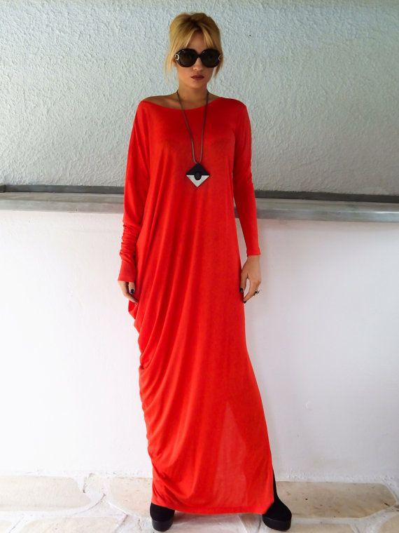 Red Maxi Long Sleeve Dress   Red Kaftan   Asymmetric Plus Size Dress ... 8f3baf01da