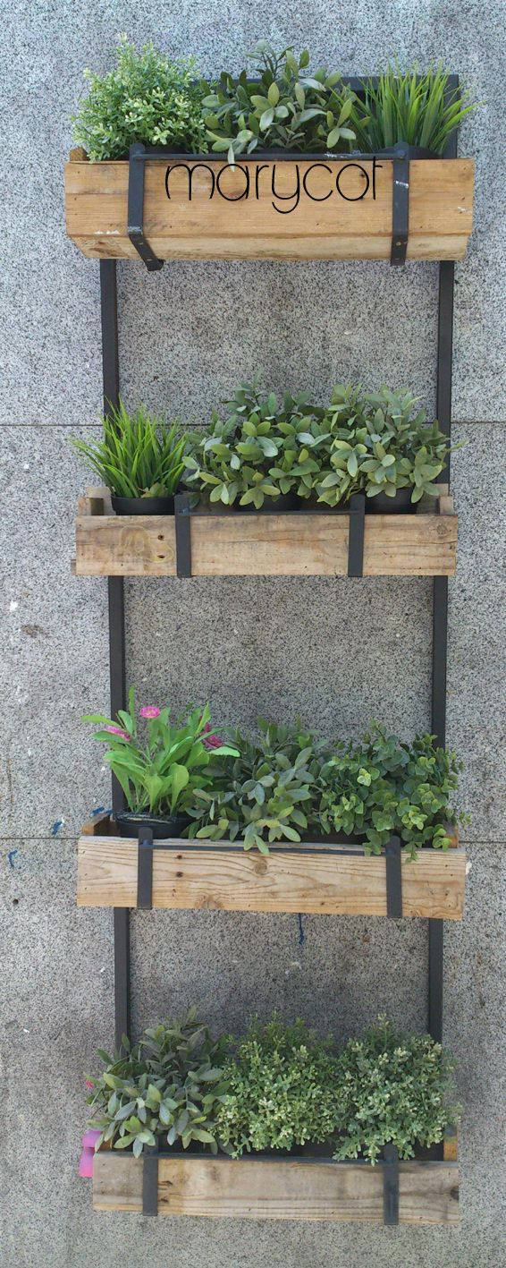 The steel and pallet planters complement the