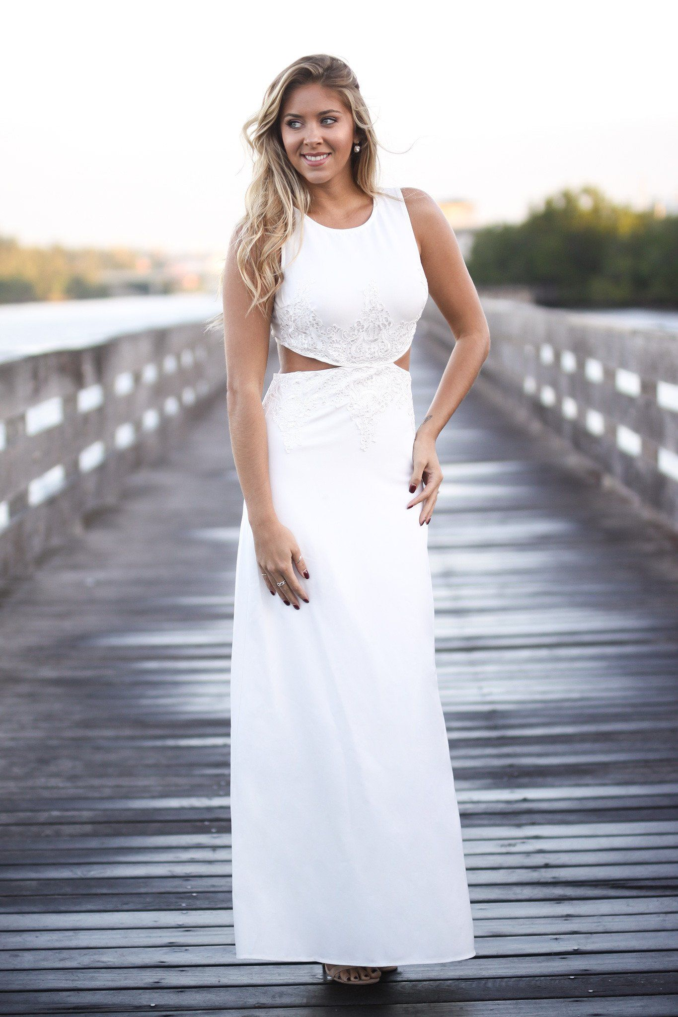 Maxi dress for wedding  Ivory Cut Out Maxi Dress  Maxi dresses Ivory and Online boutiques