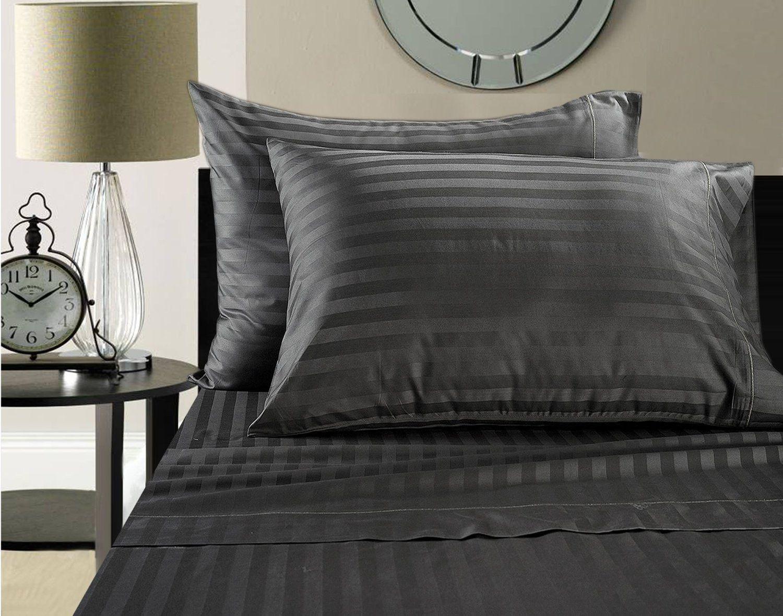 wamsutta 500 thread count egyptian cotton damask stripe sheet set california king - Wamsutta Sheets