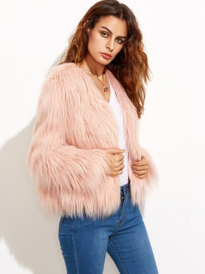 Shop Pink Collarless Faux Fur Coat online. SheIn offers Pink ...