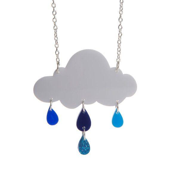 Rain Cloud necklace  laser cut acrylic
