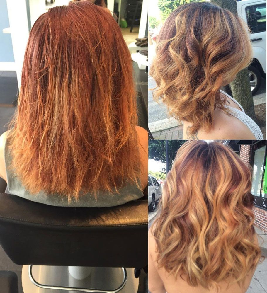 Color Correction Damaged And Brassy To Auburn And Gold Brassy Hair Artistic Hair Hair Life