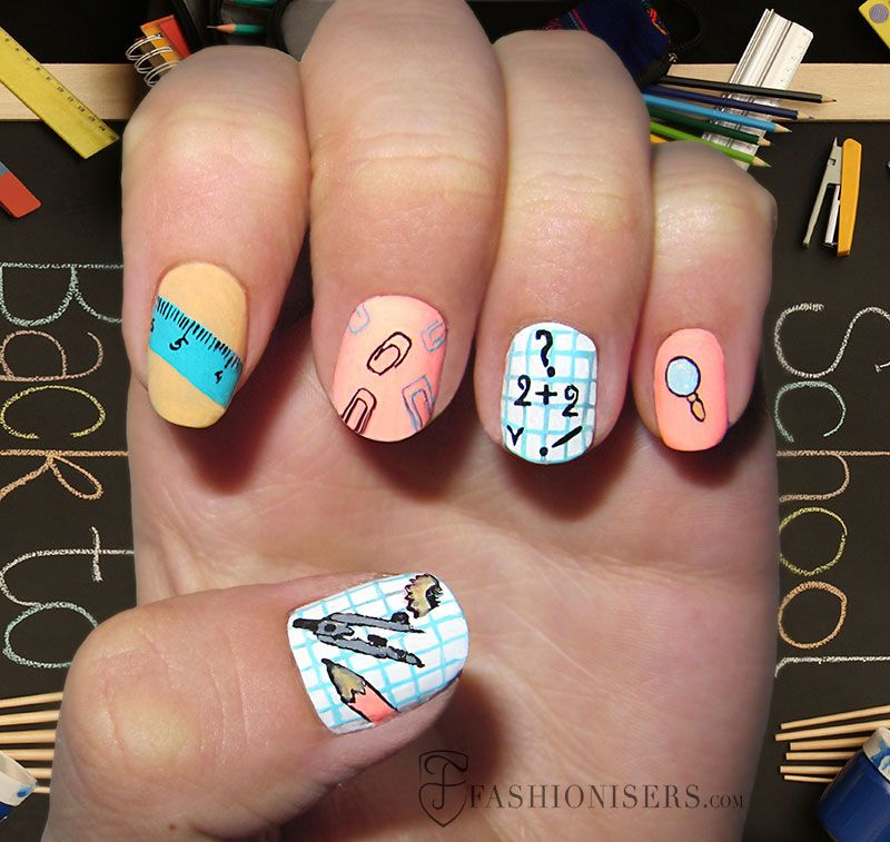12 Cute Back To School Nail Art Designs | School nail art, School ...