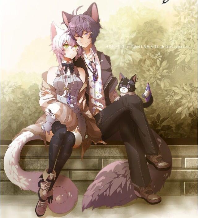 Cat Girl And Wolf Boy Anime Cat Girl Anime Eyes