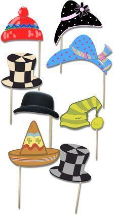DIY photobooth hats by Accent the Party http://www.accenttheparty.com Idée à prendre: découper formes basiques de chapeaux dans du carton, puis leur faire peindre/décorer...: