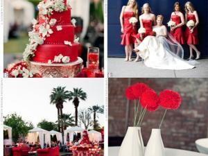 Deco mariage rouge et blanc chic