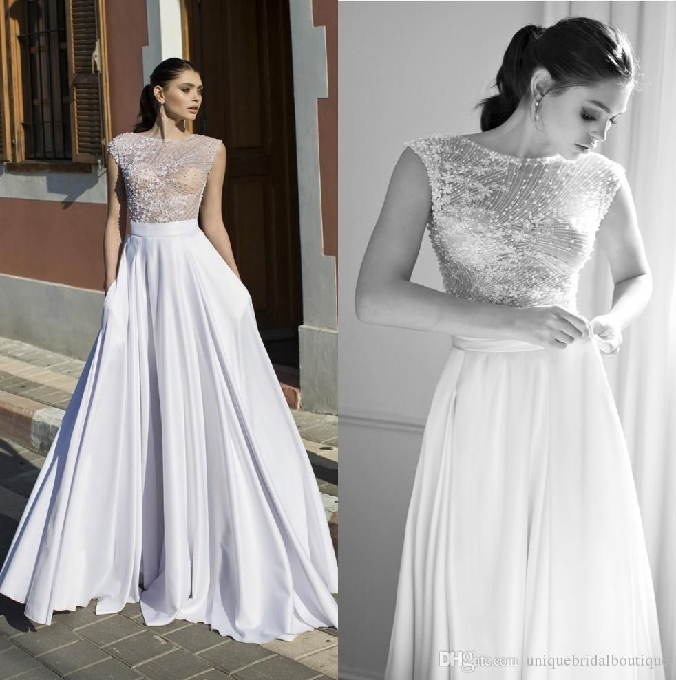 A line wedding dresses with cap sleeves and side zipper riki