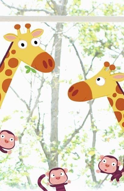 kinder fenstersticker giraffe u affen fensterbilder kids