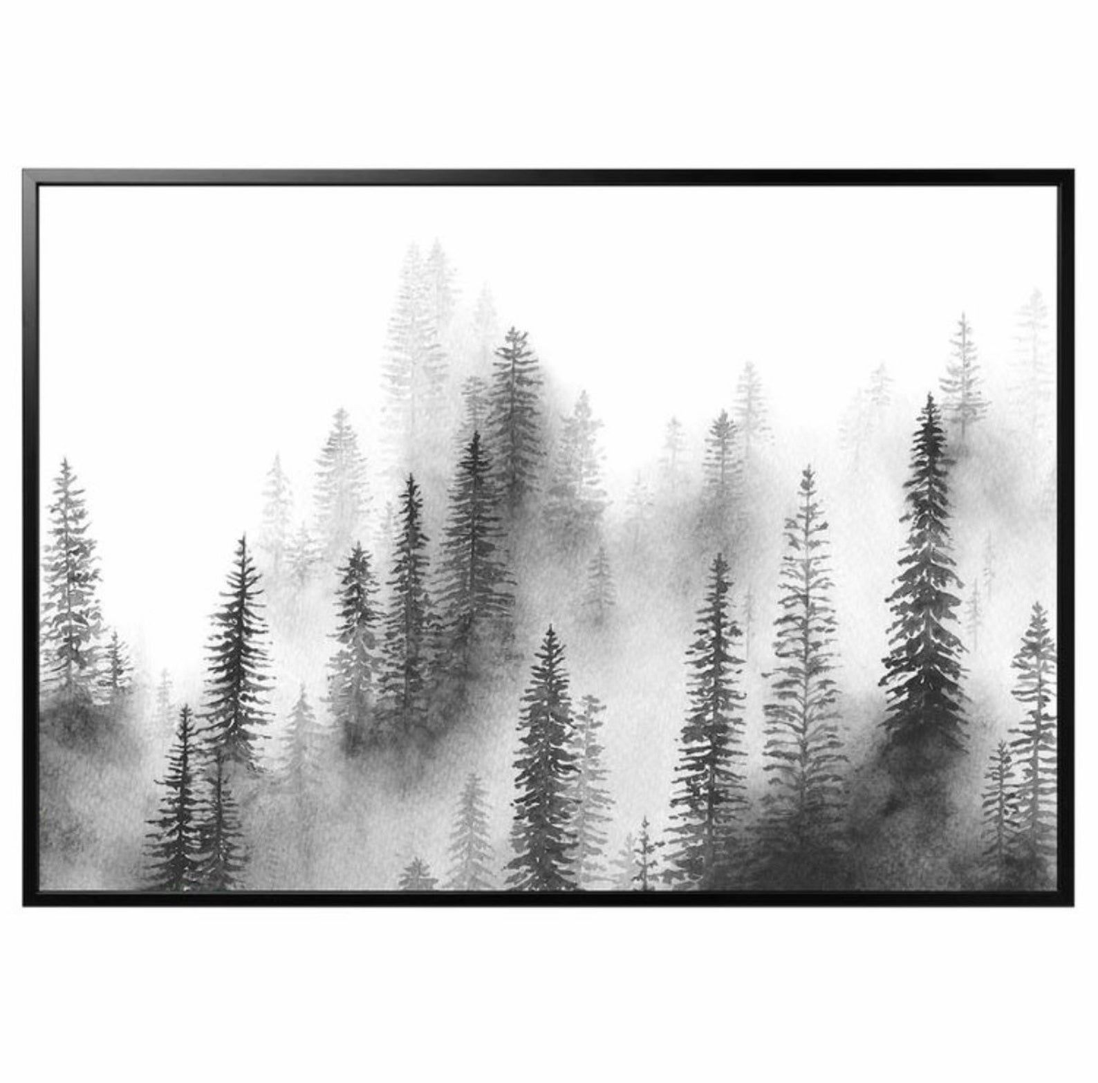 Christmas gift, Foggy pine trees painting, Black and white painting, pine trees forest wall Art, Scandinavian Wall Art, Nordic Nature Art