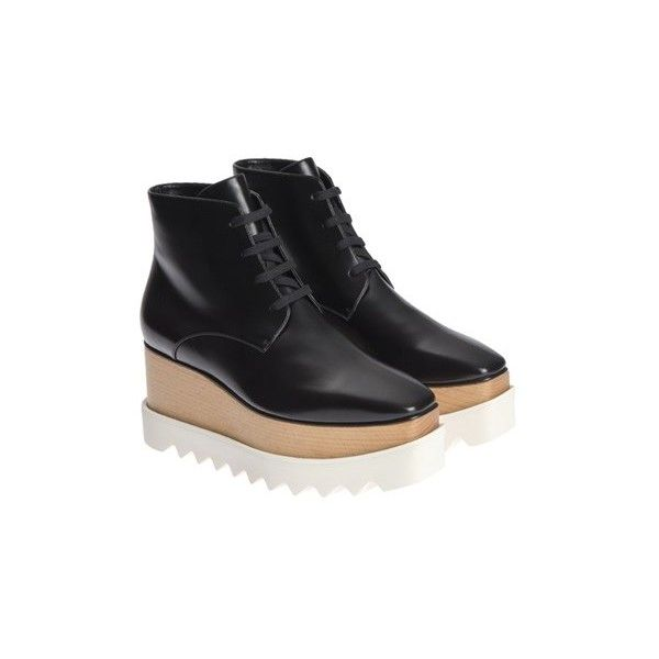 Stella McCartney Elyse Ankle Boots ($579) ❤ liked on Polyvore featuring shoes, boots, ankle booties, black, wedge boots, short boots, black wedge bootie, wedge ankle booties and ankle boots