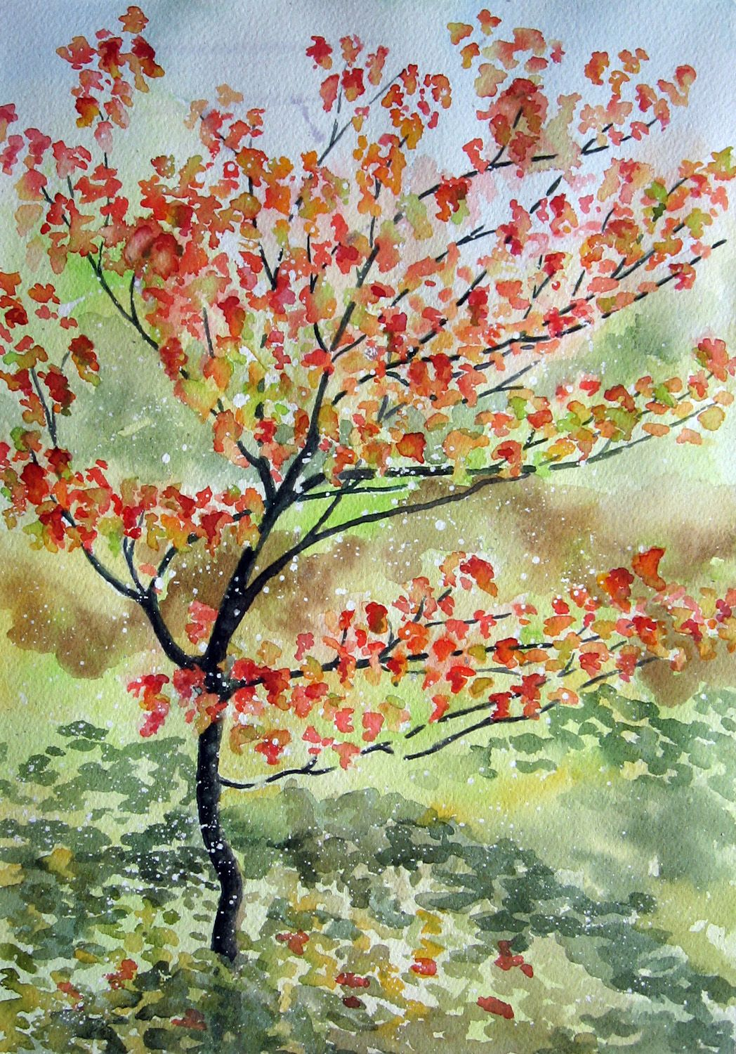 Dogwood Tree in Bloom | Watercolor , Whispers of Color and Acrylic ...